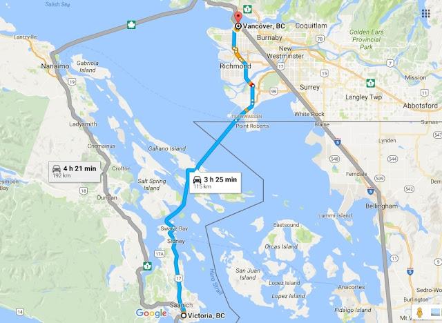 Viagem de carro de Victoria a Vancouver