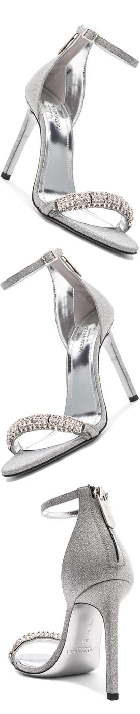 CALVIN KLEIN 205W39NYC  Camelle Diamond & Swarovski Embellished Sandals