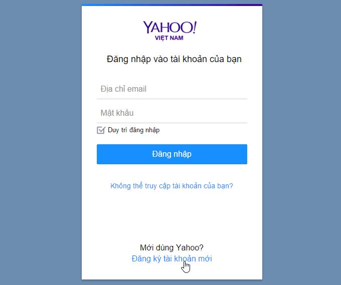 Cách đăng kí Yahoo mail