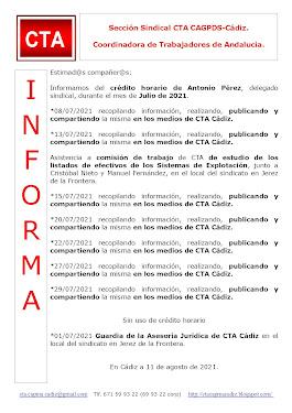 C.T.A. INFORMA CRÉDITO HORARIO ANTONIO PÉREZ, JULIO 2021