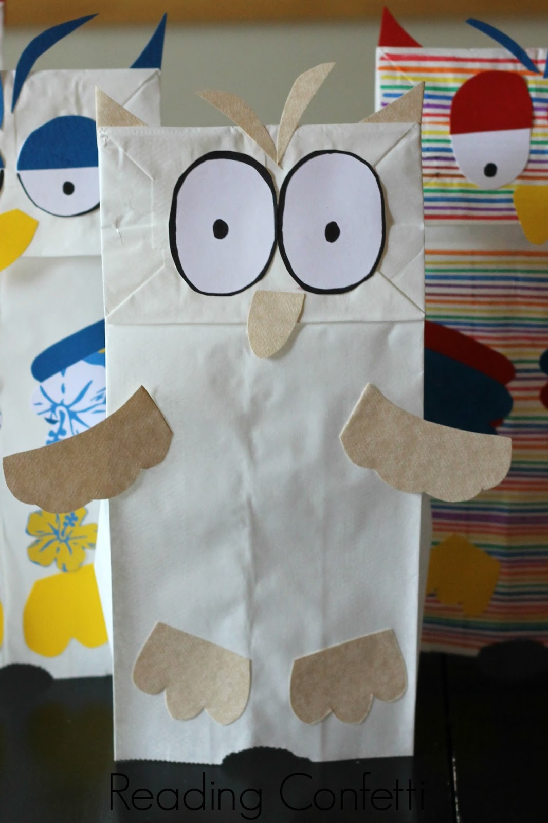 Little White Owl Paper Bag Puppets Book Activity Reading Confetti