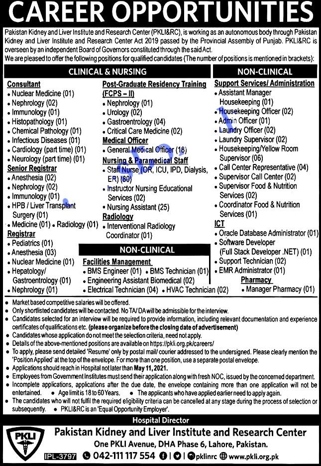 New Jobs in Pakistan Kidney And Liver Institute PKLI 2021 -Apply online