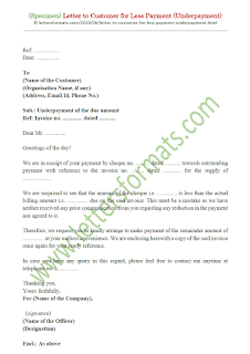 underpayment letter to customer