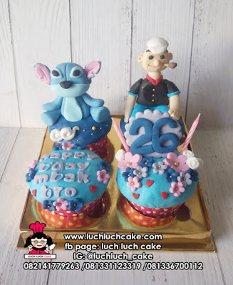 Cupcake Tema Popeye dan Stitch