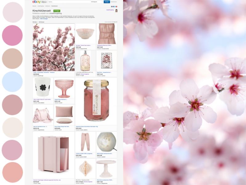 eBay Kollektion erstellen Moodboard Kirschblüte