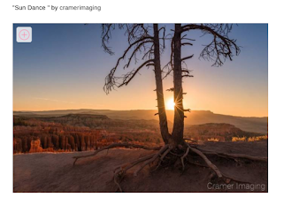 "Screenshot of Cramer Imaging's landscape photo ""Sun Dance"" as a contest winner on Viewbug"