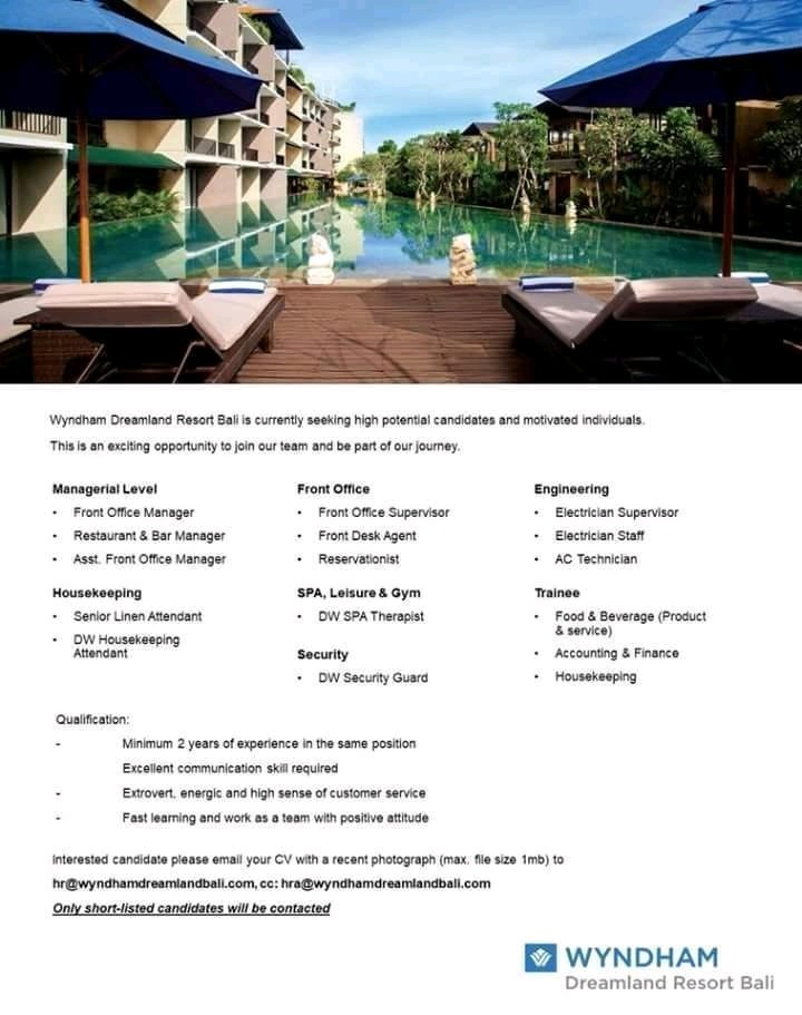 Lowongan kerja Wyndham Dreamland Resort Bali