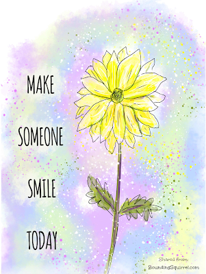 "This inspiring quote reads, ""Make Someone Smile Today"" and features a bright yellow hand-drawn flower on a pastel background."