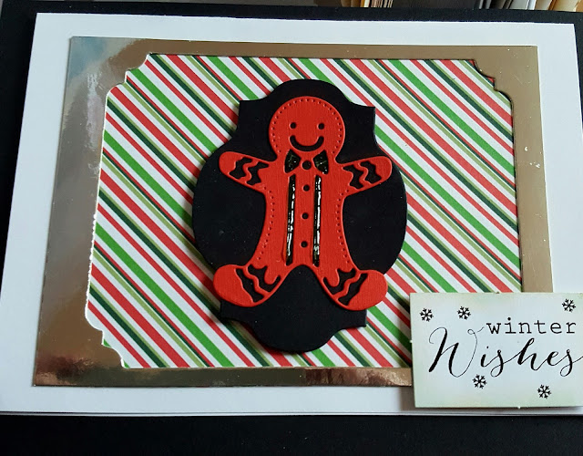 "Gingerbread man on striped background 7"" x 5"" card"