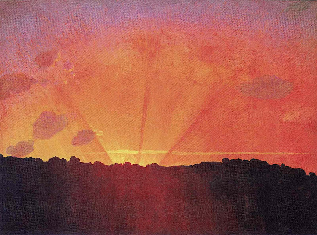 a Felix Vallotton painting of a rising sun with radiating lines