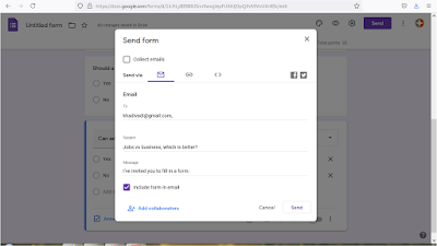 You can embed the Google form in a mail and send it