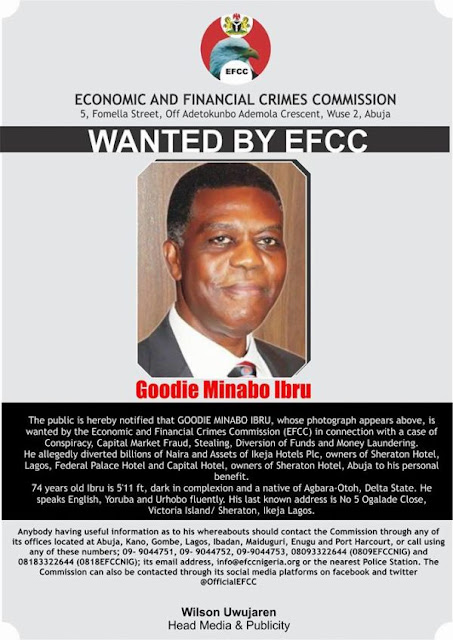 billionaire businessman Goodie Minabo IbruDeclared wanted by Economic and Financial Crimes Commission