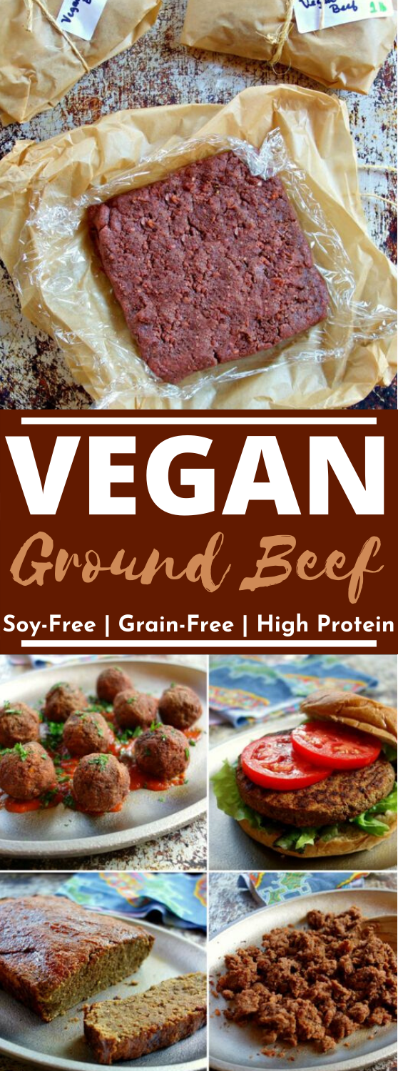 Vegan Ground Beef {Grain-Free, Soy-Free, High-Protein} #vegan #recipes #healthy #beef #meatballs