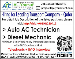 Hiring for Leading Transport company in Qatar