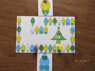 Christmas Lights Rounding to the 10's Place Task Cards