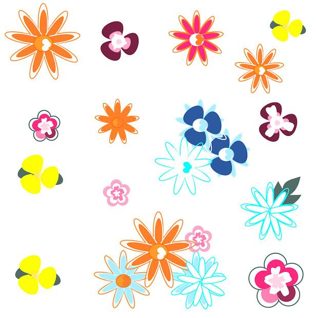 Free Digital Floral Scrapbooking Paper Doodle