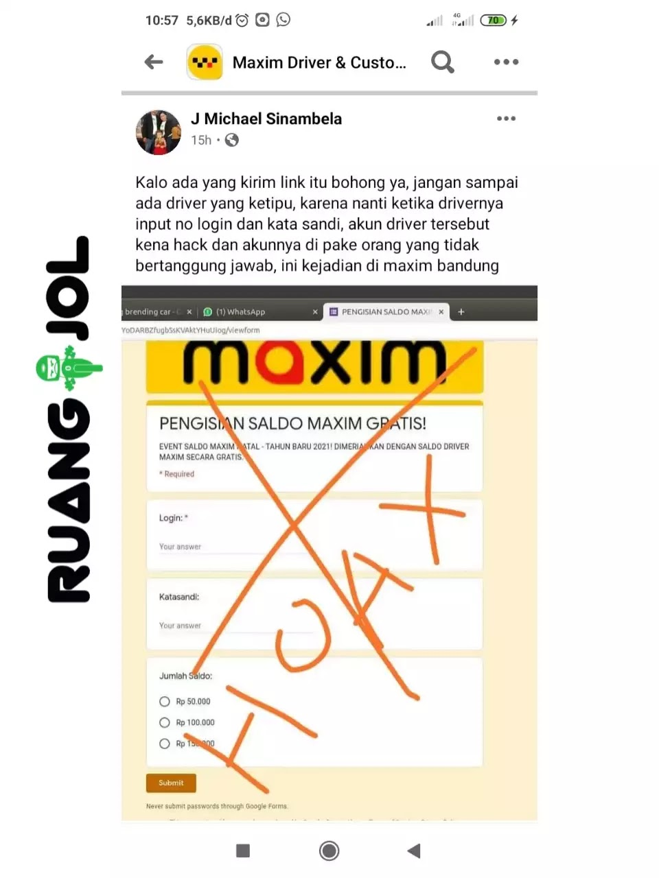 Awas Tertipu, Ini Modus Ambil Alih Akun Maxim Driver via Jasa Top Up Saldo