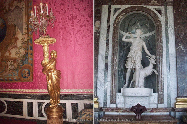 Palace of Versailles Gilded wood Candelabra & Marble sculpture in Mercury Drawing Room of King's State Apartment