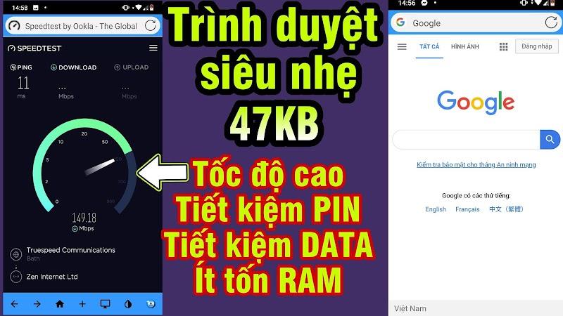 App Trình Duyệt siêu nhẹ chỉ 47KB cho Android » Tải nhanh & Mượt, Tiết kiệm PIN & DATA, Ít tốn RAM
