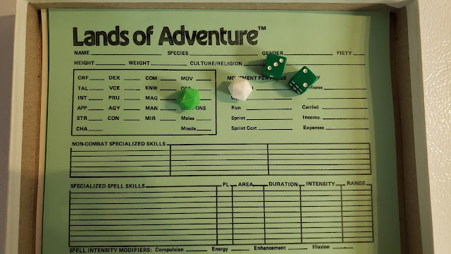 dice with character sheet