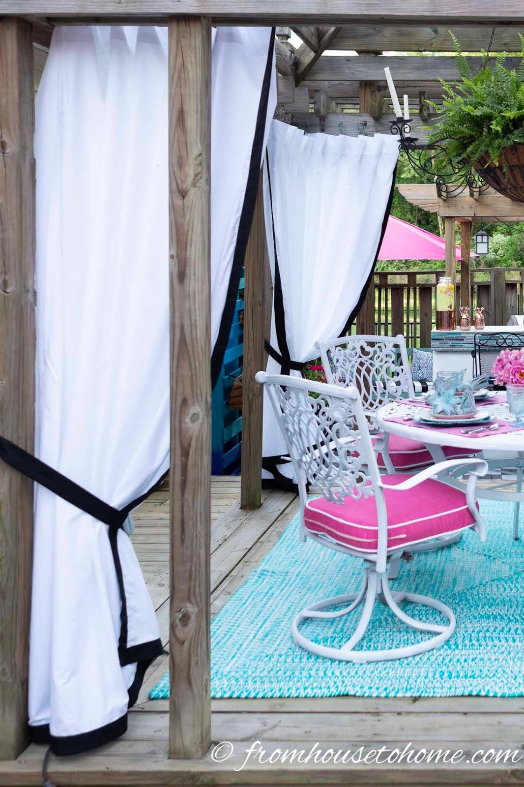 DIY outdoor drapes using sheets