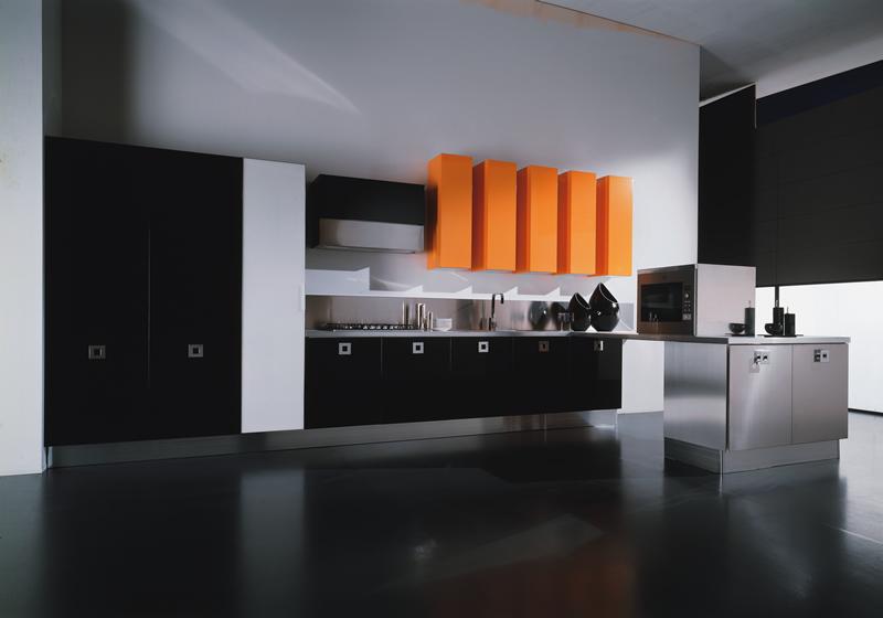 black kitchen decorated orange interior design decorating elegant kitchen cabinet island design ideas