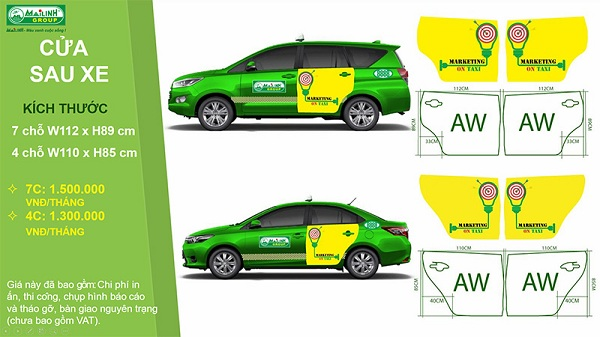 Báo giá dán decal quảng cáo trên xe Taxi ở cựa sau