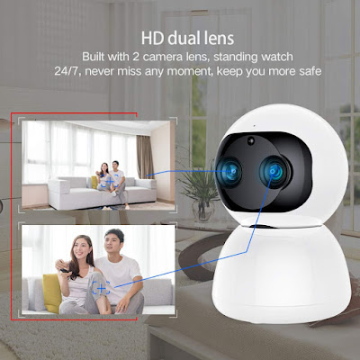 SDETER 1080P WiFi Home Smart Camera, Switchable Dual Lens Siren Alarm Sound IP Security PTZ Camera with Night Vision Motion Detection for Baby Pet Elder