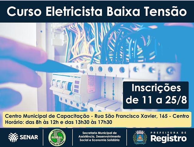 Curso gratuito de Eletricista de Baixa Tensão em Registro-SP