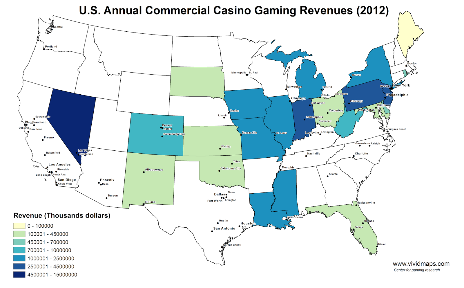 U.S. Annual Commercial Casino Gaming Revenues (2012)