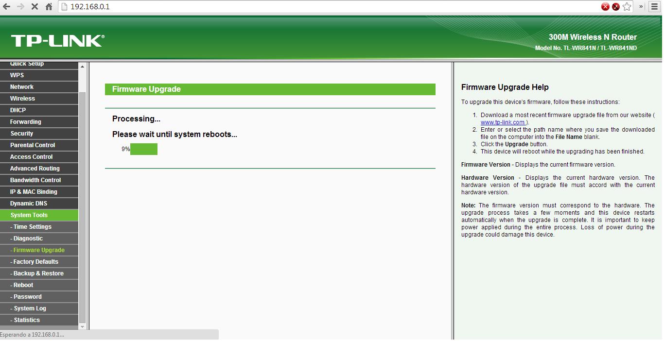 Actualización del firmware del router TP-LINK TL-WR841N