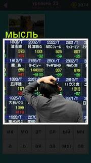 стоит мужчина и чешет затылок перед табло на бирже 23 уровень 667 слов