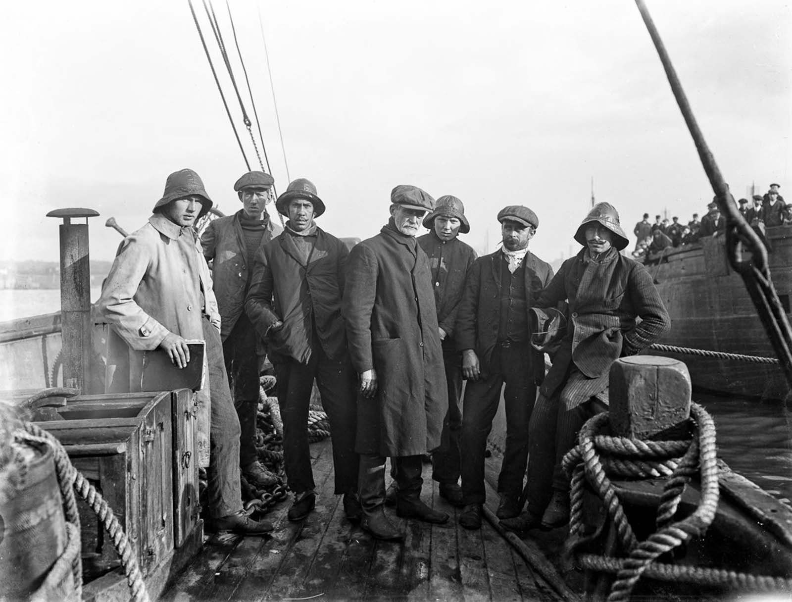 Crew members of the Norwegian vessel The Mexican, which ran aground on the Keragh Islands. The Fethard Lifeboat Helen Blake attempted to rescue them during a storm, but was destroyed with the loss of 9 of the 14 lifeboat men. 1914.