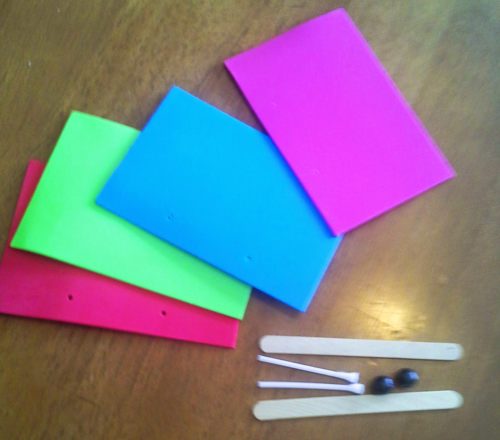Colorful foam, popsicle sticks, beans and lollipop sticks for Glimmercat's Letter X (xylophone) activity