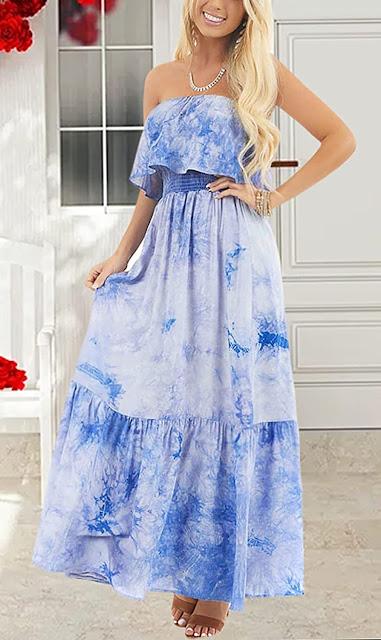 Blue Strapless Maxi Dresses