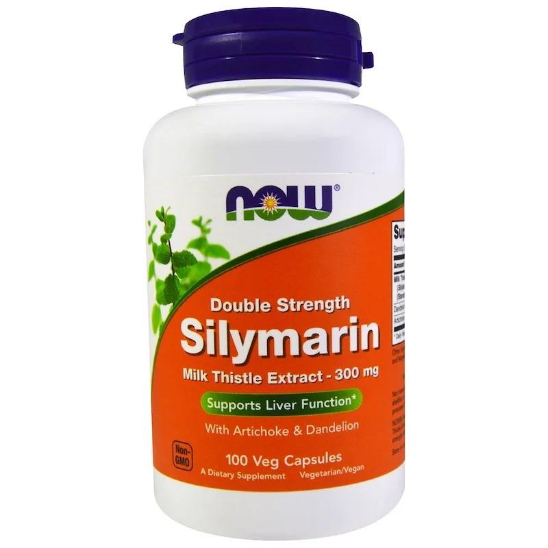 Now Foods, Силимарин, экстракт молочного чертополоха с артишоком и одуванчиком, двойной концентрации, 300 мг, 100 растительных капсул