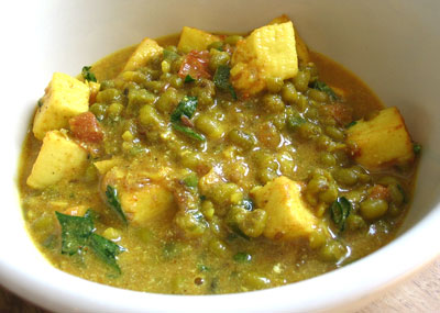 Mung Beans and Paneer Cheese