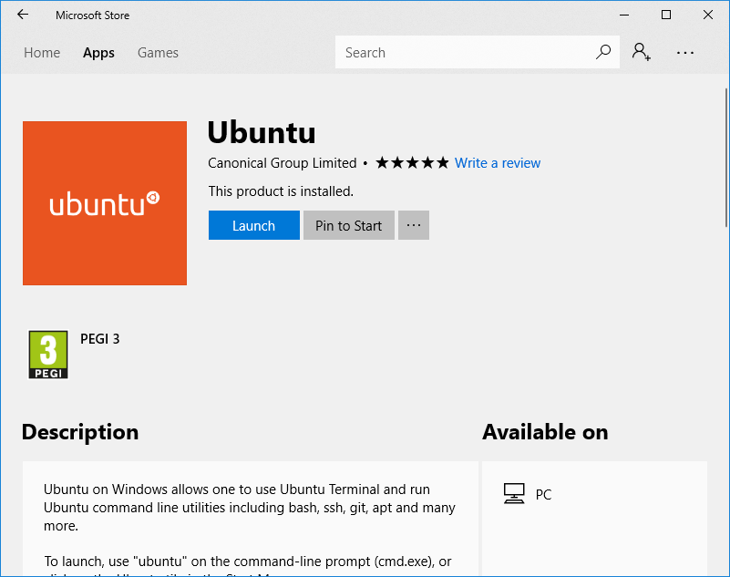 Cara Install Linux Subsystem for Windows melalui Windows Store