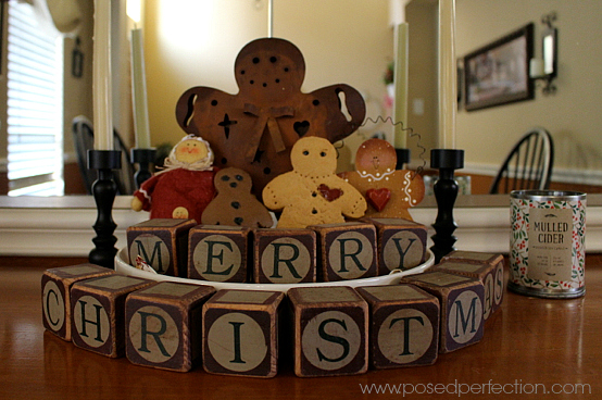 Gingerbread man collection in the dining room.