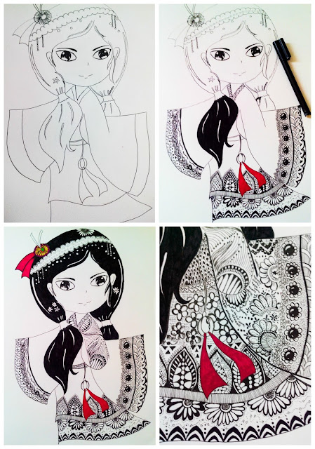 Coloring - zentangle - girl - design