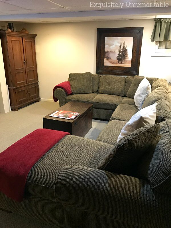 Clean And Fluffed Sectional Couch In A Family Room