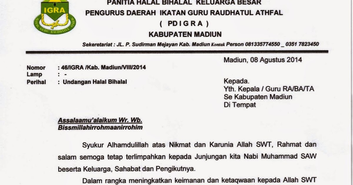 Seksi Pendidikan Madrasah Kabupaten Madiun Undangan Halal Bihalal