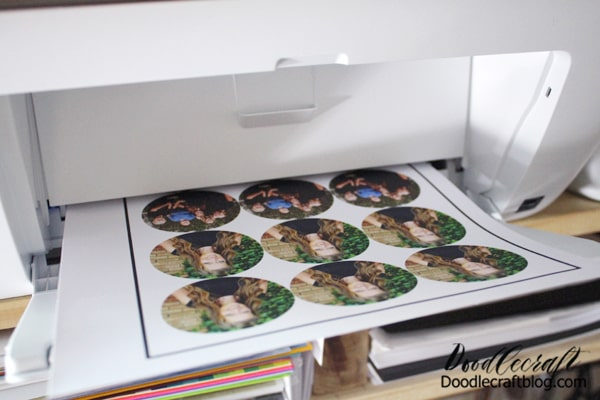 Step 2: Print Stickers Send the page to the printer. It will print a rectangle registration mark around the entire page. The Cricut is amazing and will scan the marks so it cuts it out perfectly.