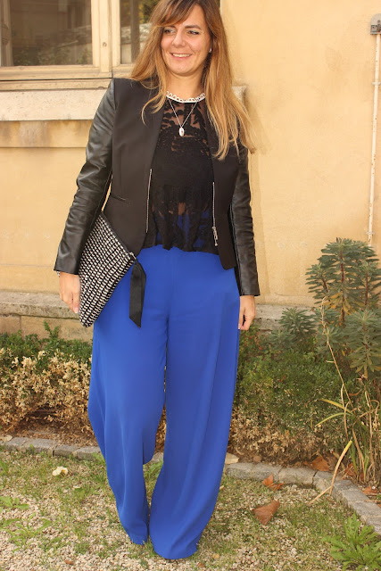 top zara dentelle, pantalon large bleu suncoo les petites bulles de ma vie