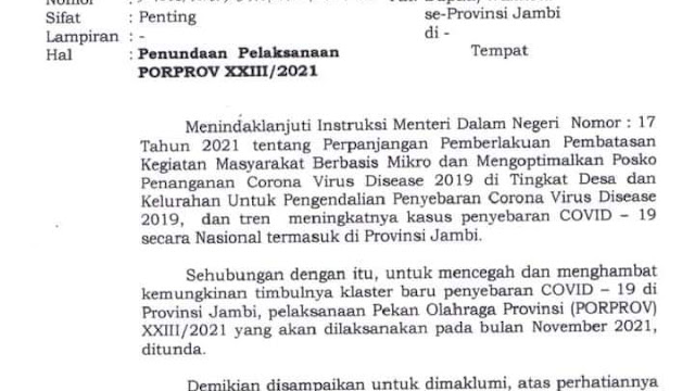 Akibat PPKM Diperpanjang Porprov Jambi Ditunda