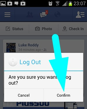 how to logout of facebook app