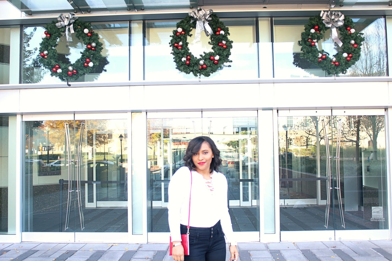 what to wear for the holidays, holiday style, red, holiday outfits, casual holiday outfit, lace up sweater