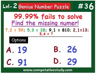 Number Puzzle: Find the missing number: 7,2 = 59; 5,3 = 28; 9,1 = 810; 2,1 = 13; 5,4 = ?