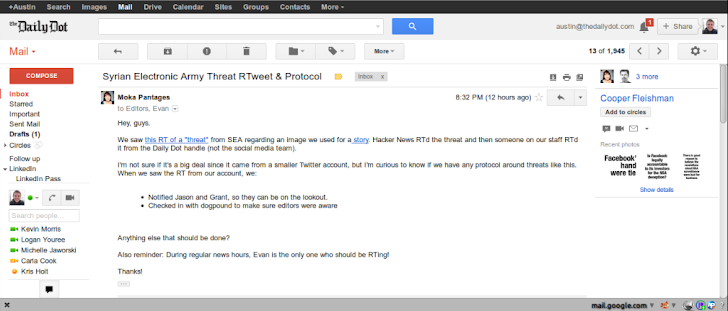Daily Dot News portal hacked by Syrian Electronic Army with phishing