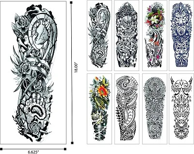 Temporary Tattoos Large Full Arm Half Sleeves (12 Sheets) Premium Realistic Fake Semi Permanent Black Body Stickers for Men and Women for Shoulder Chest and Back Hawaiian Tribal
